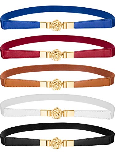 - Jovitec 5 Pieces Women Skinny Elastic Waist Belt Retro Stretch Cinch Thin Belt Metal Buckle (Style B)