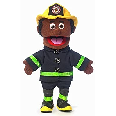 "14"" Fireman, Black Male, Hand Puppet: Toys & Games"