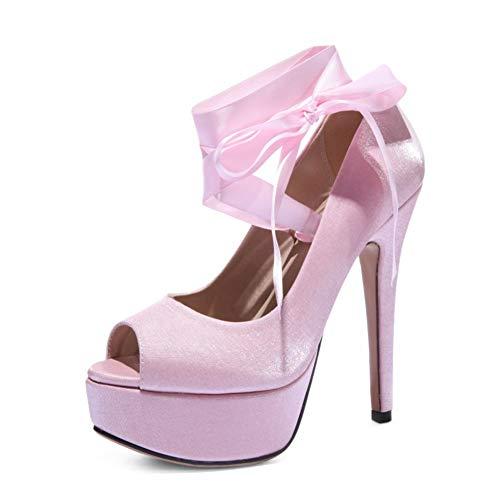 Mariage 14 43eu De Plateforme Femmes Escarpins Sandales Chaussures Toe Talons Cm Satin champagne Hlg Peep Hauts PafAqxaBw