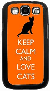 Rikki KnightTM Keep Calm and Love Cats Orange Color - Black Hard Rubber TPU Case Cover for Samsung? Galaxy i9300 Galaxy S3