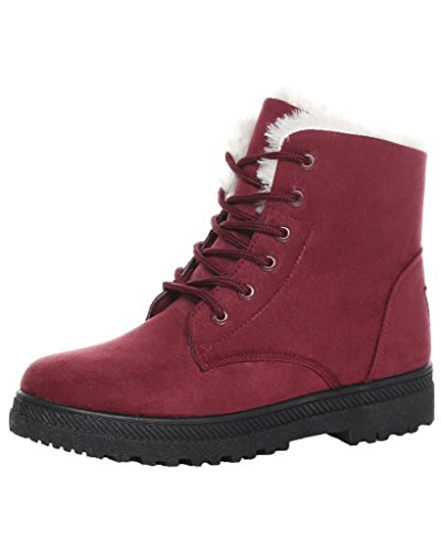 Vino Sintética Planos de Calentar Cordón Botas rojo Arriba Botines Nieve Gamuza Botas Minetom Chic Mujer Fur wBF6nxq8