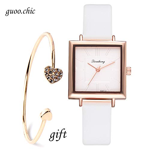 Womens Analog Watches Quartz Wristwatch White Square Dial Strap Fashion Ladies Watches Birthday Lover Gift