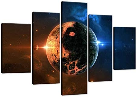 Extra Large Solar Eclipse Wall Art Blue Planet Earth Painting on Canvas Nebula Abstract Universe Pictures 5 Piece Outerspace Print For Home Decoration Framed