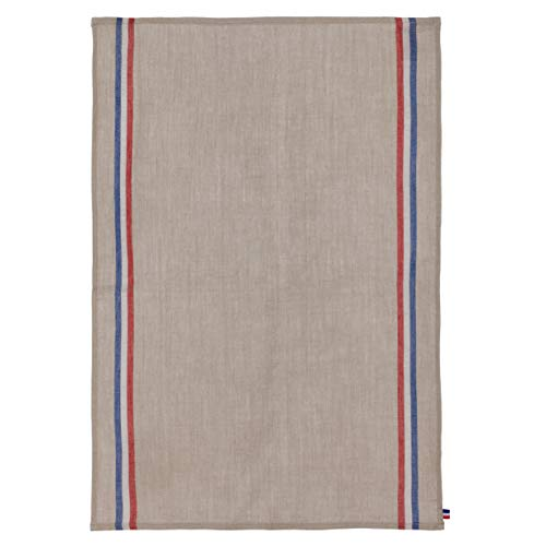 (COUCKE French Pure Linen Towel, Tricolore Naturel, 20-Inches by 30-Inches, Beige, Red and Blue)