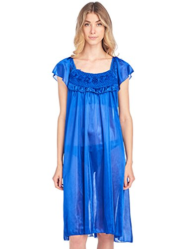 Casual Nights Women's Cap Sleeve Flower Silky Tricot Nightgown - Navy - (Sleeve Knee Length Nightgown)