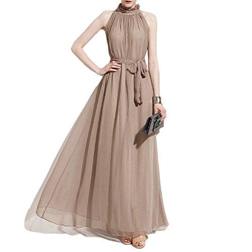 iShine Mujeres Vestidos Cuello Halter Elegante Plisado Gala Chiffón Maxi Largo Vestido de Fiesta de Noche Caqui