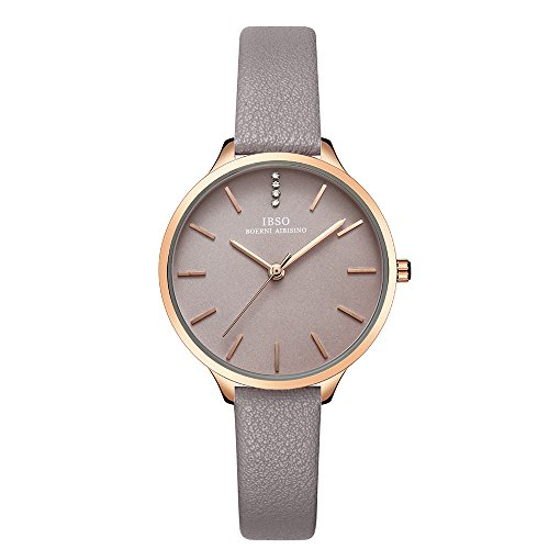 Grey Leather Strap Rose Gold Case Fashion Women Watch for Sale (6603-Grey) ()