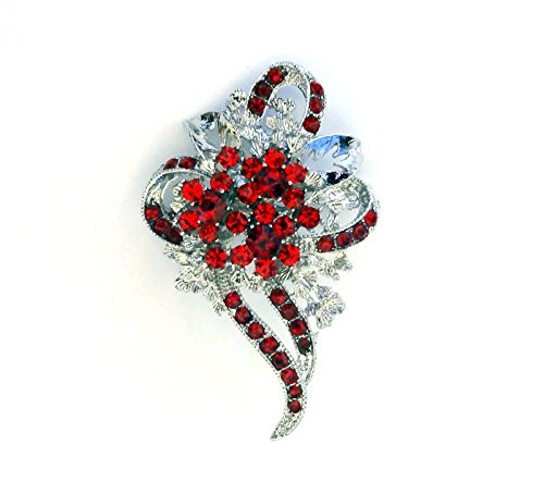 Awareness Rhinestone Watch (AIDS/HIV RED CRYSTAL RHINESTONE AWARENESS RIBBON SILVER BROOCH PIN)