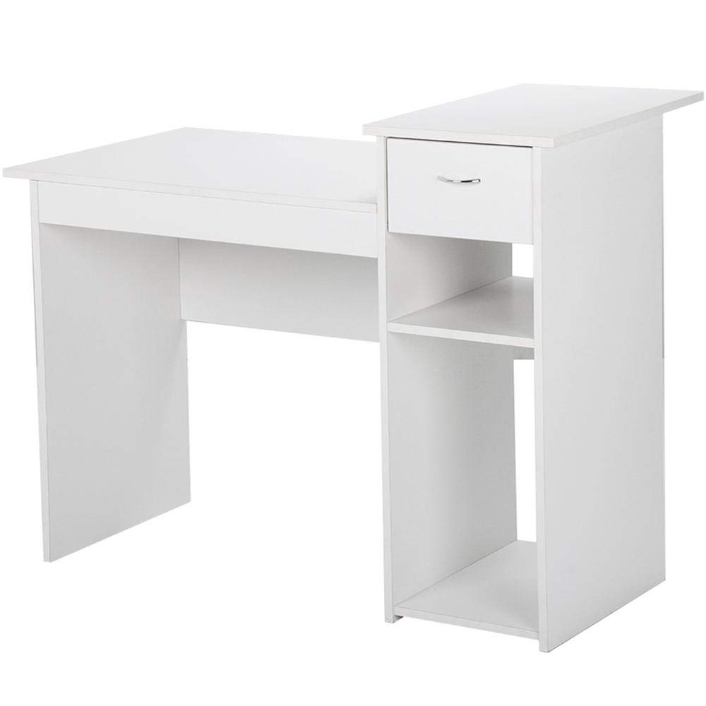 White computer desk Micke Amazoncom Topeakmart Small White Computer Desk With Drawers And Printer Shelves Study Writing Table Workstation For Small Space Home Office Wood Office Amazoncom Amazoncom Topeakmart Small White Computer Desk With Drawers And