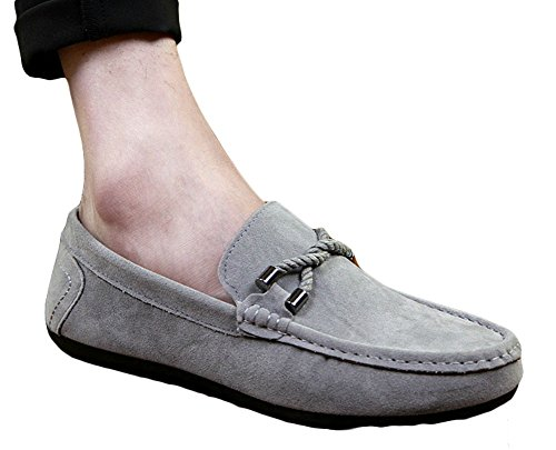 Ma Gray Loafers King Casual on Shoes Slip Driving Men's Suede Boat PdvfwUq