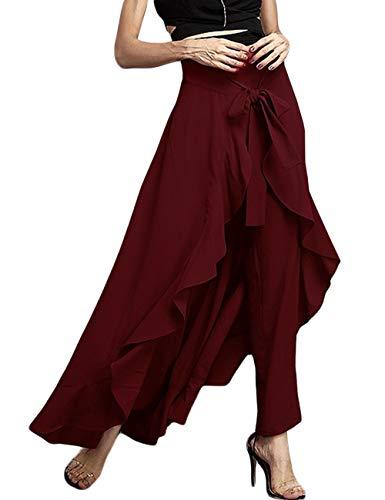 Jessica CC Women's Solid Ruffle Wide Leg High Waist Loose Palazzo Skirt Pants (Large, Wine Red)
