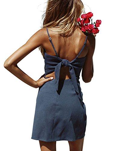 BerryGo Women's Sexy Cut Out Back Bow Spaghetti Strap Bodycon Mini Dress Blue Gray