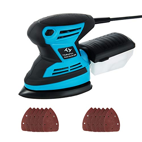 Mouse Detail Sander Tilswall 1.7Amp 15,000 OPM with 12pcs Sandpaper Pads (80 & 120 Grits), Dust Collection System For Tight Spaces Sanding in Home Decoration, DIY etc