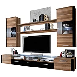 Concept Muebles Fresh Modern Wall Unit/Entertainment Centre/Spacious and Elegant Furniture/Tv Cabinets/Tv Stand for Modern Living Room/High Capacity Living Room Furniture (Plum Tree)