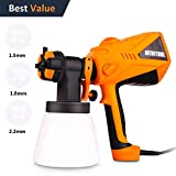 Meditool 600 Watt High Power Paint Sprayer HVLP Home Electric Spray Gun Three Spray Patterns 3 Nozzle Sizes 1000 ml Detachable Container