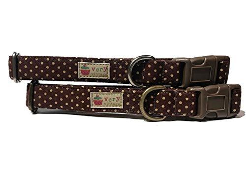 Very Vintage Design Harvest Moon Dog Cat Collar Chocolate Brown Antique Brass Polka Dots Halloween Fall Dog Collar Organic Cotton Pet Collar