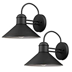 Globe Electric sebastien outdoor wall sconce is a wonderful combination of clean and curvy lines that create a pleasing design. The Black Finish upscales any decor. The white interior reflects the light and ensures a beautiful brightness leve...