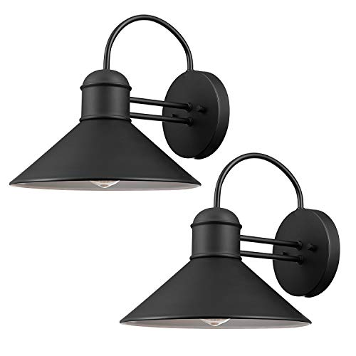 Globe Electric 44165 Sebastien 1-Light Outdoor Wall Sconce, 2-Pack, Black Finish (Fountain Outdoor Wall Modern)