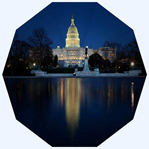 Fashion Travel Umbrella Sun Umbrella UV protection automatic opening and closing, Nation Capitol in Washington DC at Night, windproof - rainproof - men - ladies - versatile - 42 inches (Best Thai Washington Dc)