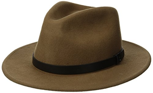 - Brixton Men's Messer Medium Brim Felt Fedora Hat, tan/black, Large