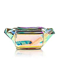 Holographic Fanny Pack for Women - Waist Fanny Pack with Adjustable Belt for Rave, Festival, Travel, Party … (Clear Gold)