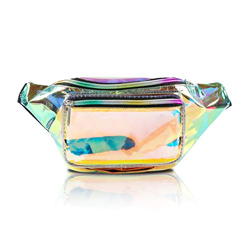 Holographic Fanny Pack for Women - Waist Fanny Pack with Adjustable Belt for Rave, Festival, Travel, Party (Clear Gold)