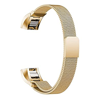 Maledan Replacement Metal Bands for Fitbit Alta HR and Alta, Stainless Steel Milanese Bracelet with Magnet Lock, Large and Small
