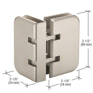 CRL Estate 090 Series Brushed Nickel 90° Glass-to-Glass Hinge by C.R. Laurence