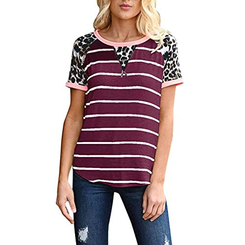 New York Mets Pencil - Mebamook Women's Short Sleeve and Long Sleeve Round Neck Triple Color Block Stripe Casual Blouse Short Sleeve Casual Cold Shoulder WineRed