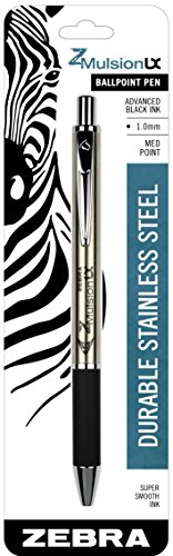 Zebra Z Mulsion LX Retractable Emulsion Pen, 1mm, Black by Zebra