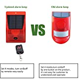 Solar Strobe Light with Motion Detector Solar Alarm Light with Remote Controller 129db Sound Security Siren Light IP65 Waterproof 24 Hours+Night Mode for