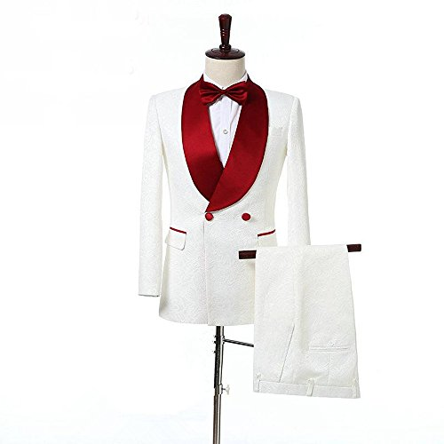 - Anylinksuit 2 Piece Double-Breasted White Paisley Groom Tuxedos Blazer Suits