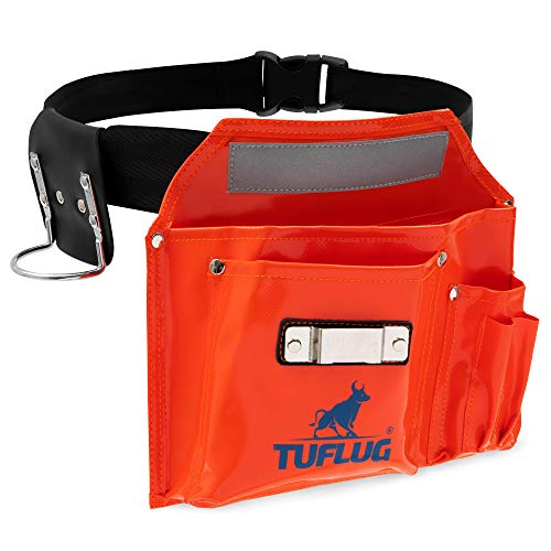 Single Pouch Tool Belt, Industrial-Strength 1000D PVC Vinyl, 46inch Adjustable Waist - Multipurpose Utility Pouches with Pockets for Tools, Hammer, Measuring Tape - Durable, Lightweight Belts