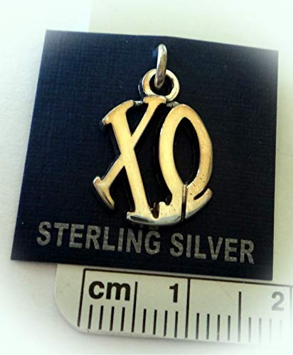 Sterling Silver 16x12mm Greek Sorority Chi Omega Circle Drop Charm Vintage Crafting Pendant Jewelry Making Supplies - DIY for Necklace Bracelet Accessories by CharmingSS