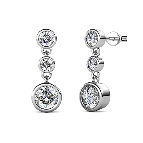 Dangling White Gold Stud - Amazon Prime Deals 2018 - Cate & Chloe Bailey Wonder White Gold Dangle Earrings, 18k White Gold Plated Studs with 3 Dangling Swarovski Crystals, Silver Stud Earring Set, 3 Round Cut Crystal Stones