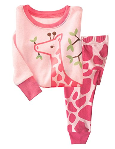 2 Giraffes (Ariamark Little Girls Pajama 2 Piece Set 100% Cotton Giraffe Sleepwear For Children 2-7 T)
