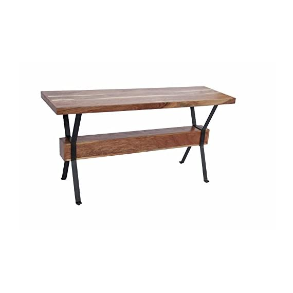 The Urban Port Wooden Top Console Sofa Entry Table, Brown and Black - This table is made up of Acacia nilotica wood and has a strong metal base that adds years to its life. This table gives you a lot of space for displaying vases, framed pictures or other decorative pieces. This table has a weight capacity of 130 pounds. - living-room-furniture, living-room, console-tables - 412kamz4CjL. SS570  -