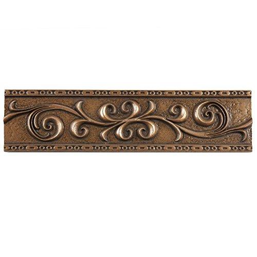 Bronze Wall Tiles - SomerTile WGMSBRRL Denbora Scroll Metallic Liner Wall Trim Tile, 3