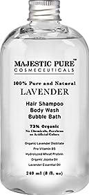 Majestic Pure Shampoo & Body Wash, Organic Lavender, 73% Organic, Sulfate Free, 8 Fluid Ounce