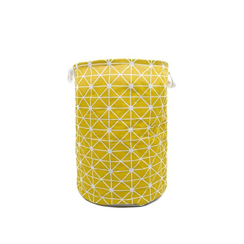 Anzirose Round Laundry Hamper with Waterproof Coating Cotton Linen Collapsible Clothes Toys Storage Organizer Bin with Handles Yellow by Anzirose