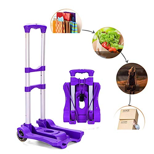 Zehaer Portable Trolley, Portable Folding Hand with Shopping Bag, Lightweight 2 Wheels Hand Cart Heavy Duty Adjustable Aluminum Alloy Luggage Cart (Color : Black) (Color : Purple) by Zehaer (Image #2)