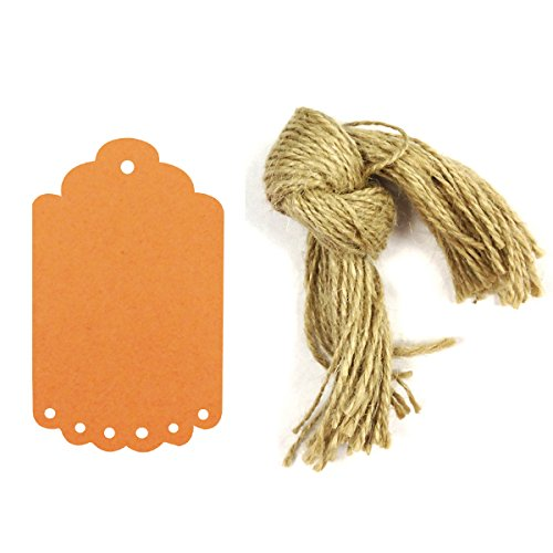 Wrapables 50 Count Gift Tags/Kraft Hang Tags with Free Cut Strings for Gifts, Crafts and Price Tags, Small Scalloped Edge, Orange
