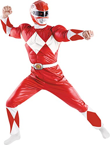 [Disguise Costumes Men's Power Ranger Red Adult Red/White 42-46] (White Ranger Adult Costumes)