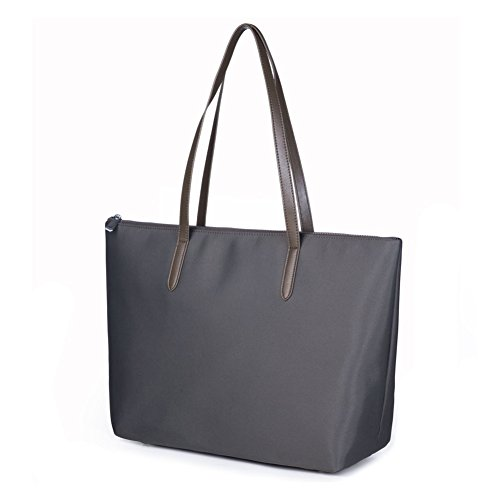 Leather Nylon Oxfords - Lecxci Women's Oxford Nylon Waterproof Tote Bag Large Capacity Satchel Shoulder Travel Bags (L, Gray)