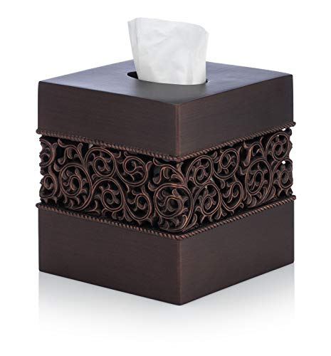 (EssentraHome Bronze Finish Squared Tissue Box Cover for Bathroom Vanity Counter Tops Also Great for Bedrooms and Living Rooms)
