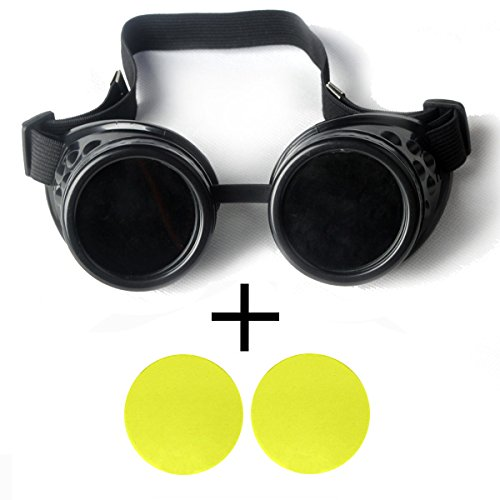 OMG_Shop Black Frame Steam punk goggles retro punk glasses steam punk glasses interchangeable lenses DIY-Black Frame & Yellow Lens