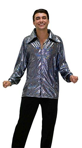 (Forum Novelties Men's 70's Disco Fever Funkadelic Costume Shirt, Silver,)
