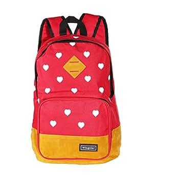 Wingeler Fashion Heart Unisex Canvas Shoulder Bag Handbag School Backpack-A5