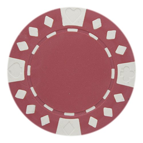 Brybelly Diamond Suited Poker Chips Versatile 11.5-gram Clay Composite – Pack of 50 (Red)