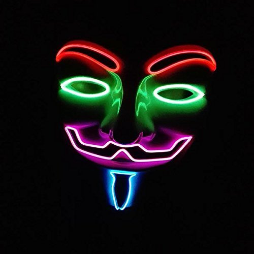 galaxyhkt cosplay EL Wire Emazing Light Up dj dance led V Vendetta rave Mardi party club Mask (mix color) by skyscott